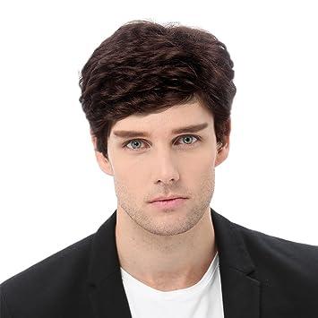 STfantasy Pelucas Hombre Corta Rizado Natural Ondulado con Capas Peluca de pelo para Men uso diario Carnaval Disfraz Fiesta Halloween (Marron)