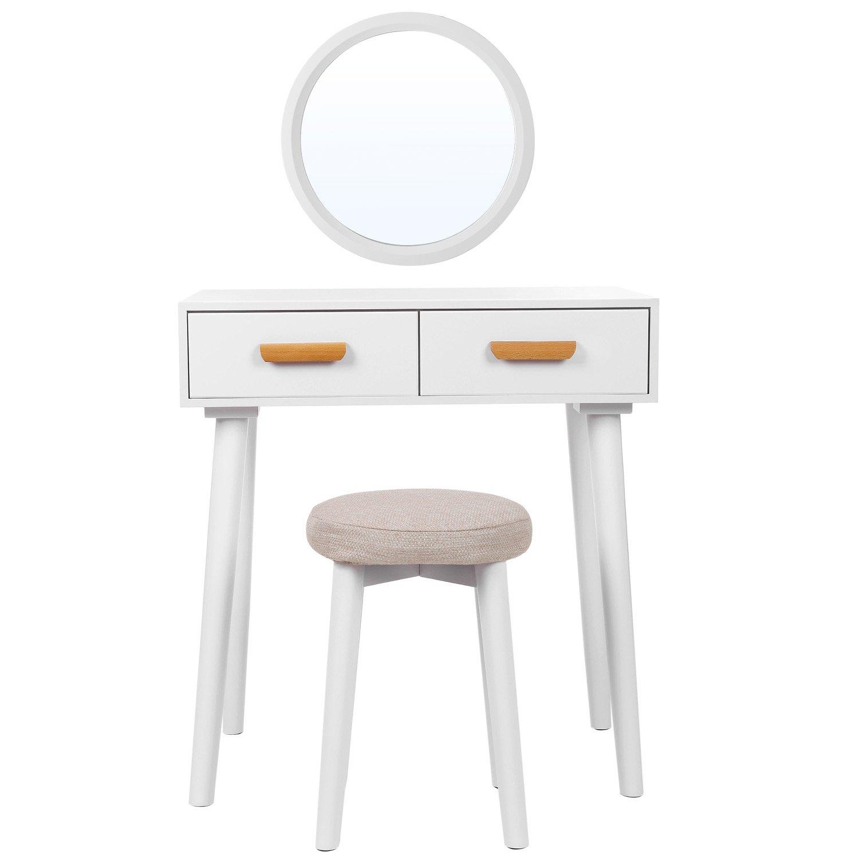 SONGMICS Coiffeuse moderne table de maquillage avec miroir mural, tabouret et 2 tiroirs, en bois MDF,pour chambre, dressing, Blanche RDT40WT