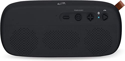 iLive Water Resistant Wireless Speaker, 8.27 x 1.8 x 3.82 Inches, Built-in Rechargeable Battery, Black ISBW249B