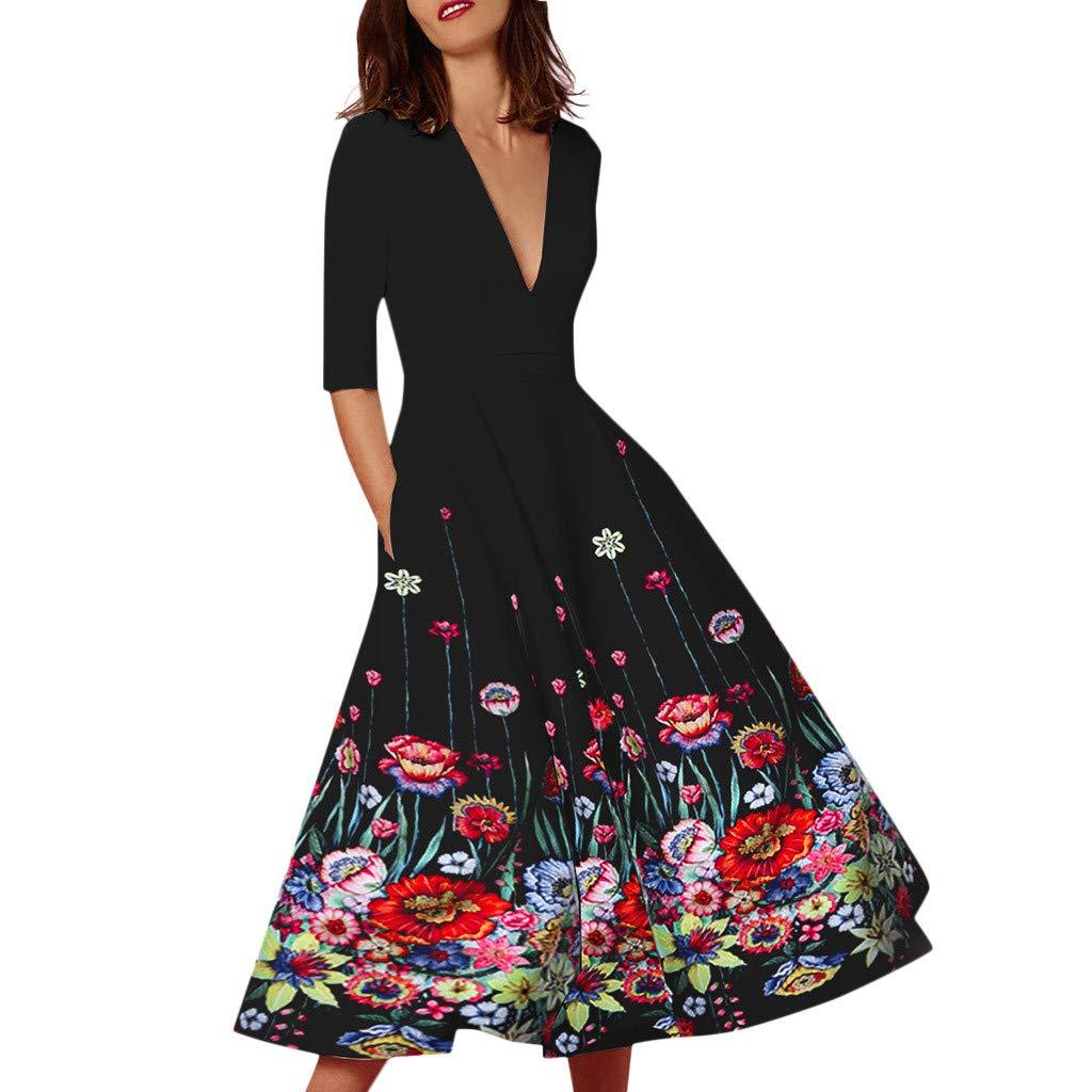 Beudylihy Prospekthalter Damen Elegant Sommerkleid Boho V-Ausschnitt Kleider Maxikleid Strandkleid Lang mit Schlitz Casual Cocktailkleid
