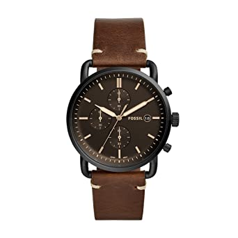 Amazon.com: Fossil Mens The Commuter Brown Leather Watch FS5403: Fossil: Watches