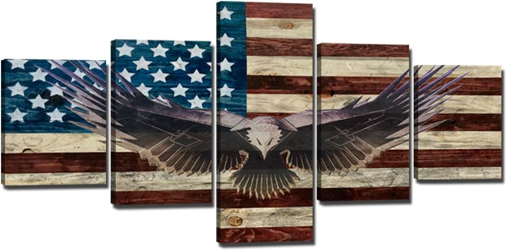 YOUHONG 5 Piece American Flag Office Wall Art Bald Cool Eagle Canvas Posters Modern Rustic Patriotic Picture Artwork Decoration for Living Room - 50''W x 24''H