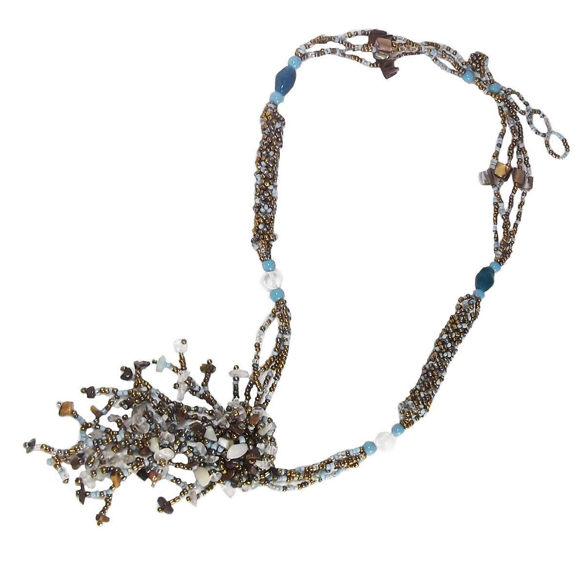 Ice Bijoux Turquoise Beads with Shells Necklace For Women Y Drop Long Necklace 27.5' Malaysia Collection