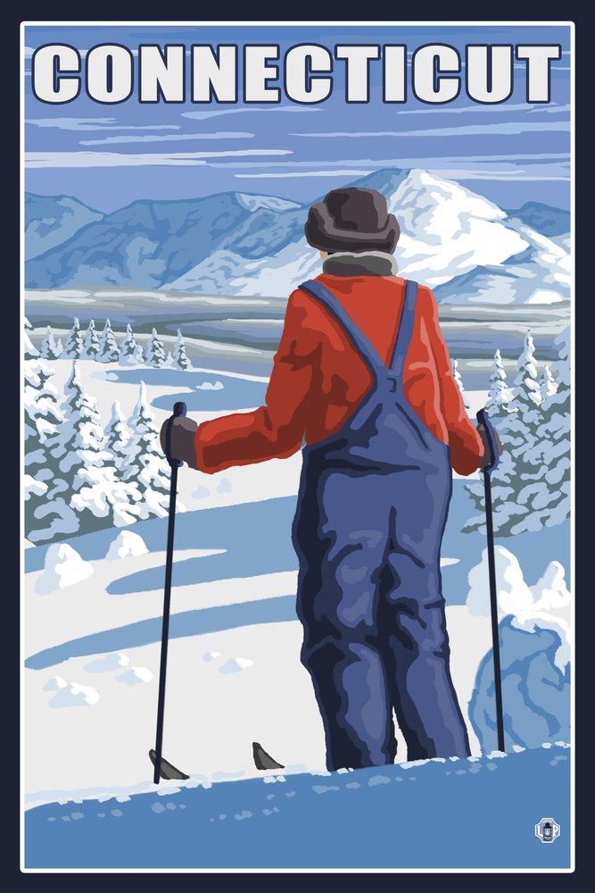 Connecticut – Skier Admiringビュー 36 x 54 Giclee Print LANT-19577-36x54 B017E9ZA54  36 x 54 Giclee Print