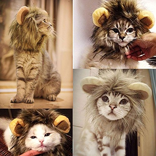 Pawaca Lion Mane Wig for Dog and Cat Costume Adjustable Washable Comfortable Fancy Lion Hair Clothes Dress for Halloween Christmas Easter Festival Party (Nc Halloween Festivals)