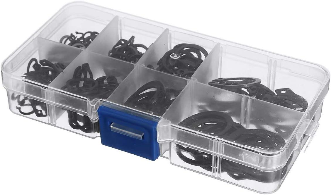 KEHUITONG JXBLD 200pcs M6-M20 Holes Shaft Collar Washer External//Internal Retaining E-Type Cir Clip Lock Snap Retaining Ring Assortment Set