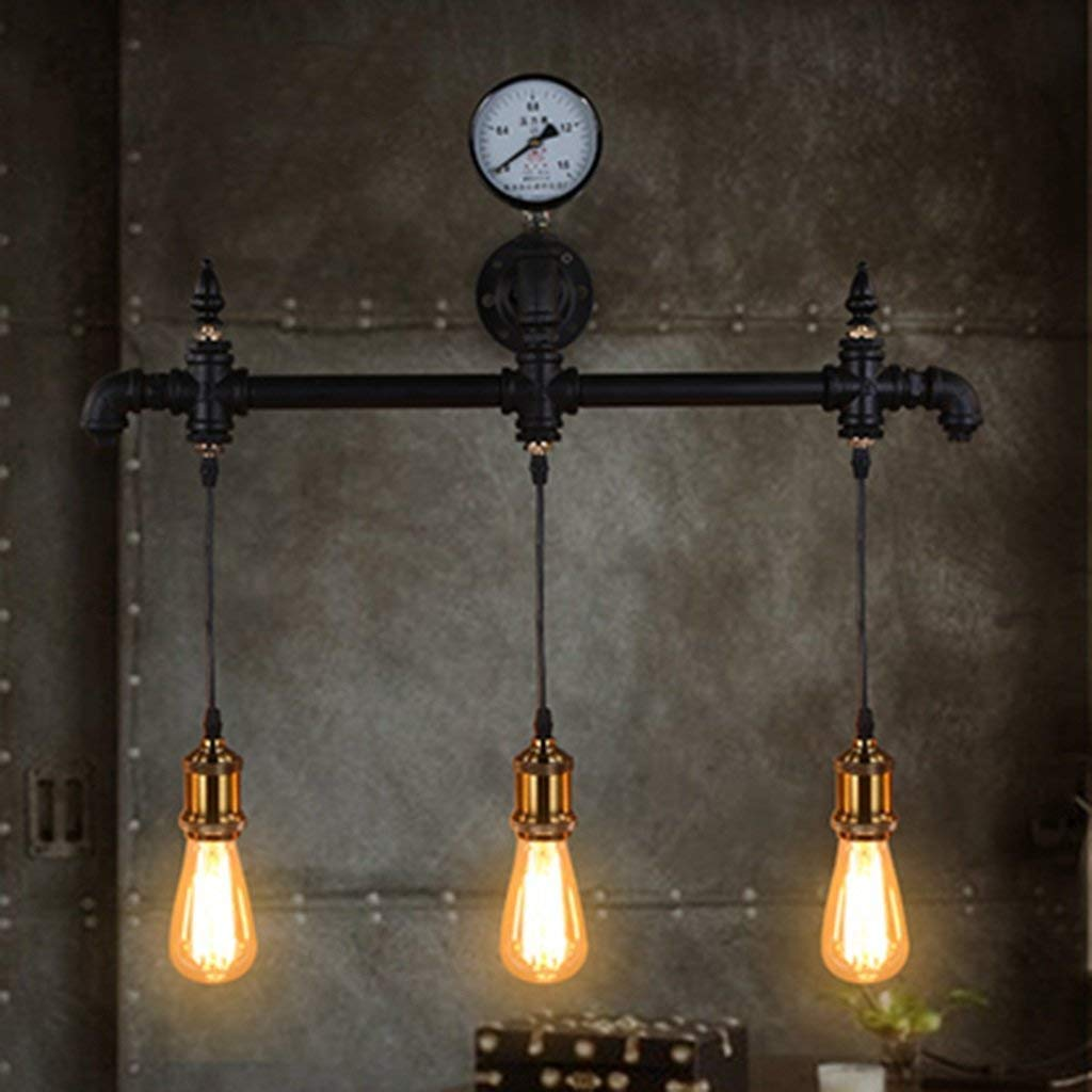 WHKHY Retro Loft Wall Lamp Lines Restaurant Bar of Convenience Lighting Coffee Nostalgic Study 3 Head E 27, 67 52 cm, 6752cm