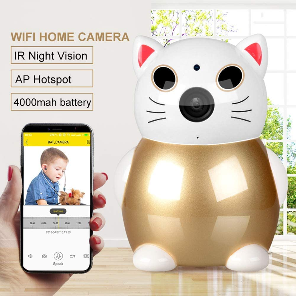 1080P HD WiFi Camera Wireless Indoor Camera with Night Vision Motion Detection Home Security Surveillance,Built-in 4000 mAh Battery, Lens Focal Length 2.8mm 61xdE4rqzaLSL1001_