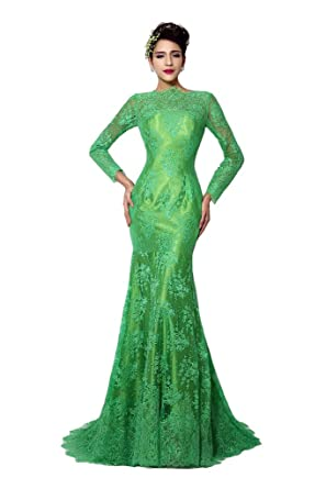 bce46f6c662a Lemai Women's Green Long Sleeves Sheer Lace Mermaid Mother of the Bride  Dresses ...