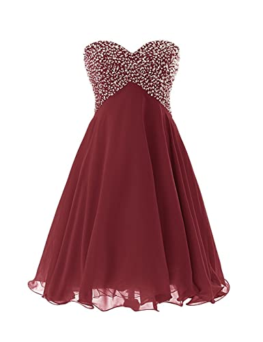Exlinalesha Chiffon Short Beaded Prom Homecoming Dress ELF174