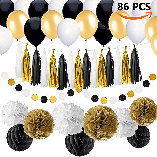 86 pcs Black and Gold Party Decorations Kit SIMPZIA Birthday Party Supplies for Adults 25th, 30th, 40th, 50th, 55th, 60th, 70th & other Occasions like Wedding,Anniversary,Engagement,Baby Shower(DIY) (Adult Party Decorations)