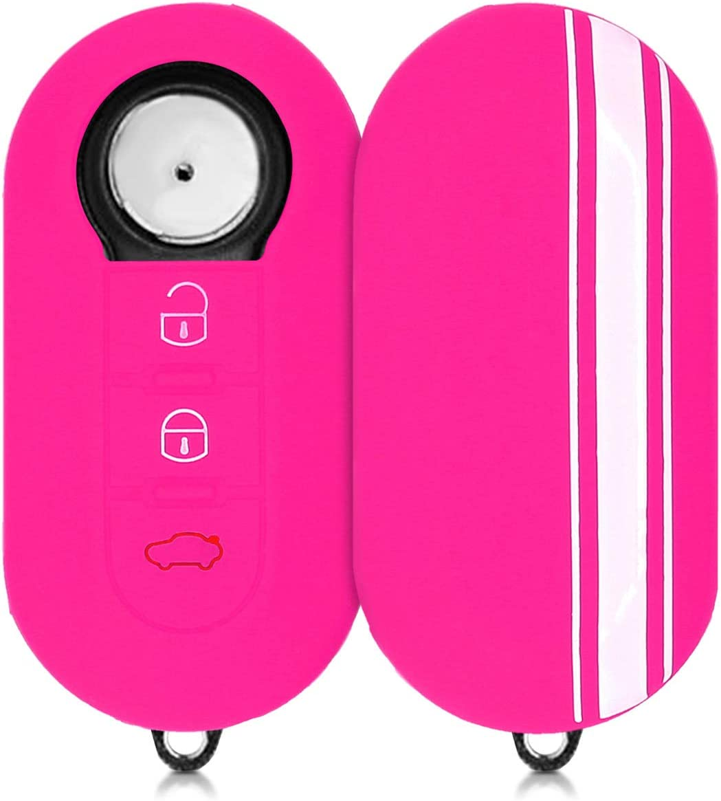 Silicone Protective Key Fob Cover kwmobile Car Key Cover Compatible with Fiat Lancia 3 Button Car Flip Key Rally Stripe White//Dark Pink