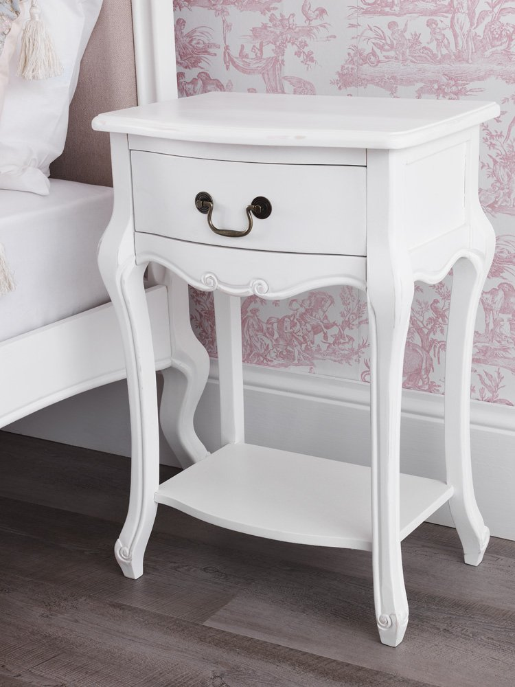Juliette Shabby Chic Antique White Bedside Table. French Bedside Cabinet  With Drawer And Shelf. FULLY ASSEMBLED: Amazon.co.uk: Kitchen U0026 Home