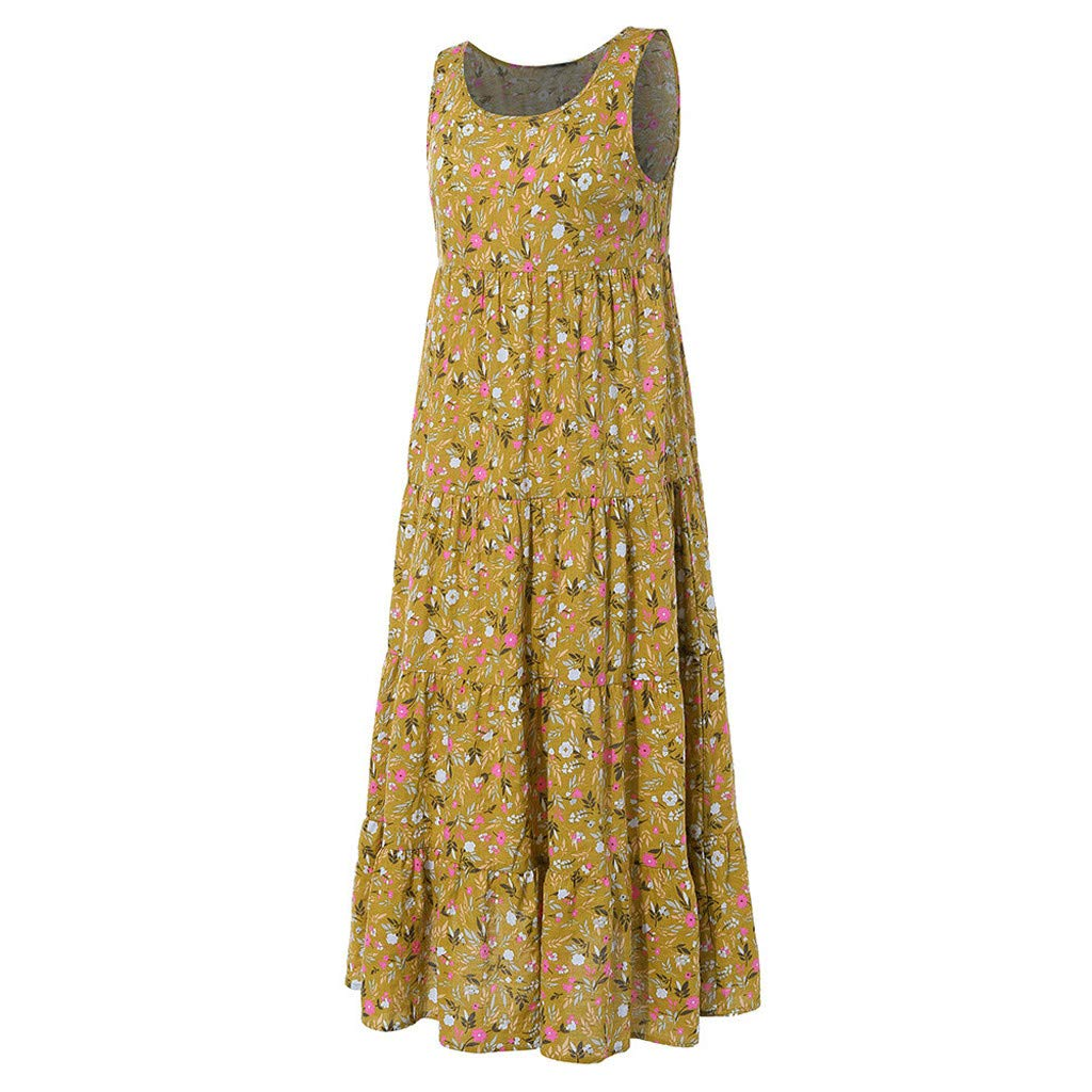 Jialili Womens Plus Size Summer Sleeveless Floral Print Dresses Daily O Neck Loose Linen Long Maxi Dress Beach