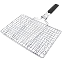 Yolyoo BBQ Barbecue Grilling Basket Portable Stainless Steel BBQ Grilling Basket with Removable Wood Handle for Fish,Vegetables, Steak,Shrimp, Chops BBQ Tool