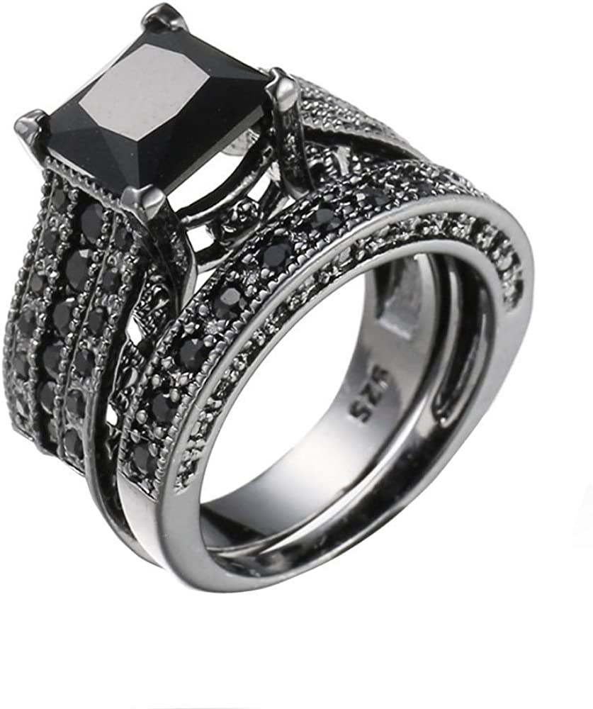 Eternity Rings,Keepfit Fashion Vintage 2-in-1 Engagement Wedding Band Ring Set