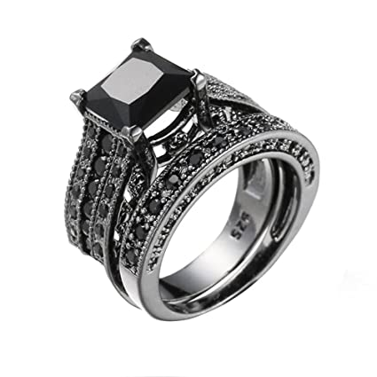 2 In 1 Womens Vintage White Diamond Silver Engagement Wedding Band