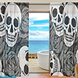 SEULIFE Window Sheer Curtain, Floral Flower Skull Rose Voile Curtain Drapes for Door Kitchen Living Room Bedroom 55x78 inches 2 Panels