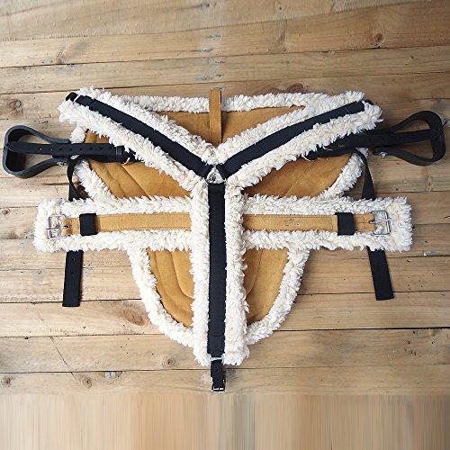 - HILASON Western Horse Size TAN Suede Leather Bareback PAD, Breast Collar & Girth