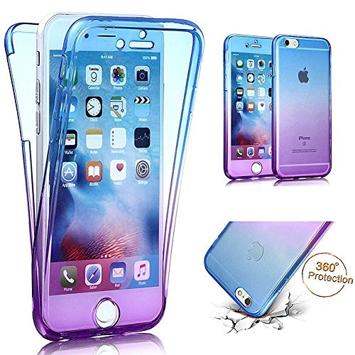 Carcasa para Apple iPhone 6/iPhone 6s (4.7), Funda iPhone 6/iPhone 6s 360 Grados, EUWLY Full Body Delantera y Trasera Doble Protección Completa Cover Caso Ultra Delgado Degradado de Color Diseño Flex Azul+Púrpura