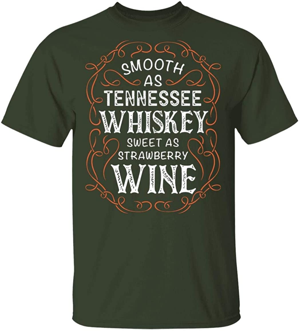 Smooth As Tennessee Whiskey Sweet As Strawberry Wine Retro Vintage Drinking T-Shirt
