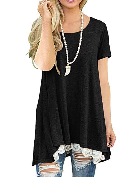 59bffd4d9 QIXING Women s Lace Long Sleeve and Short Sleeve Tunic Top Blouse at ...