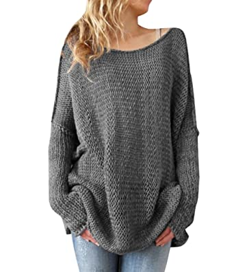 0544f778b18c Pull Long Maille Femme Pull Tunique Oversize Manches Longues Col Rond Ample Chaud  Hiver Epais Pull Robe Habillé Sweater Loose Large Tricot Chandail Jumper ...