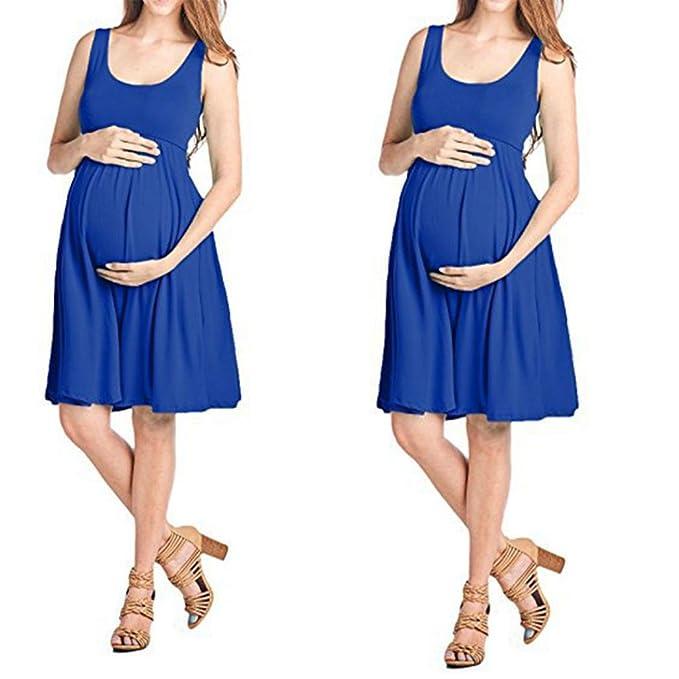 Ropa Embarazadas Vestidos AIMEE7 Vestido De Maternidad De Color Sólido Sin Mangas (S, Azul