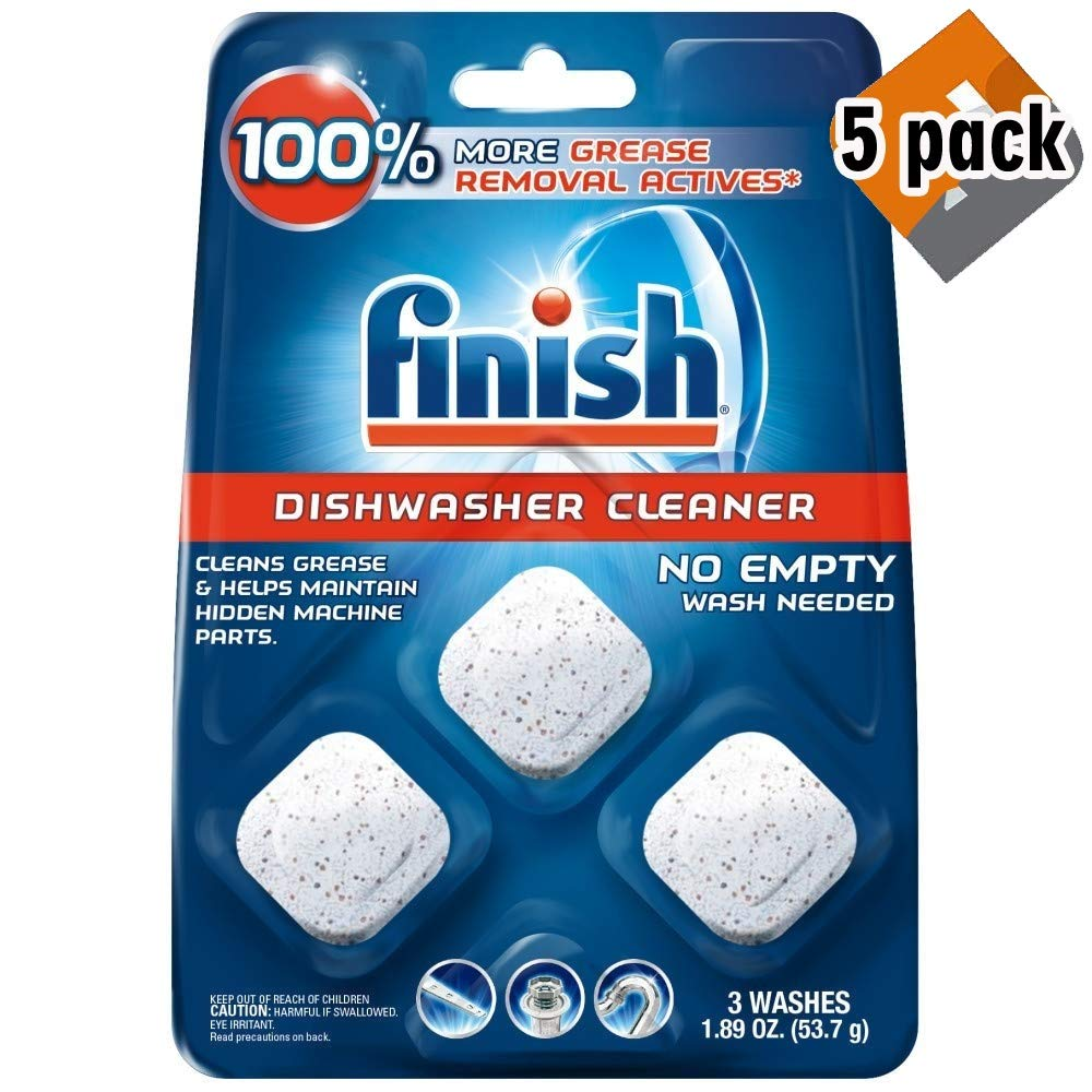 Finish In-Wash Dishwasher Cleaner: Clean Hidden Grease & Grime, 3ct (5 Pack)