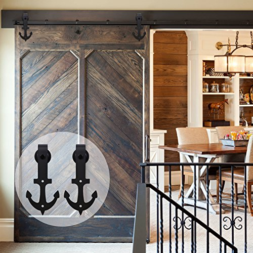 CCJH 10FT (120'') Anchor Shaped Country Style Steel Sliding Barn Wood Door Hardware Kit Black (for Single door) by CCJH