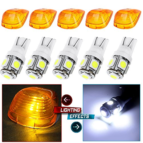 T105 the best amazon price in savemoney white top clearance roof running bulbs with 5x amber cab roof light coverslens replacement cab marker assembly for 1999 2011 ford f250 f350 pick up w5w fandeluxe Choice Image