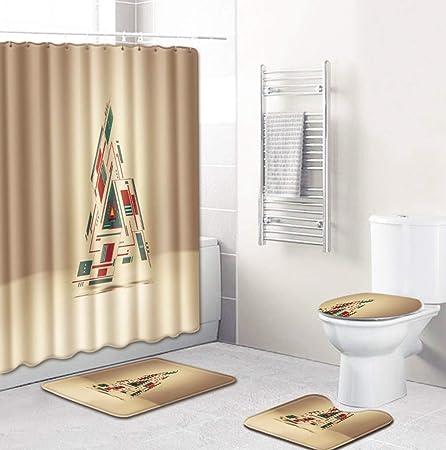 kinfuki Duschvorhang Badezimmermatten-Set 4tlg,Badematten rutschfeste badematte Bad k/üche Carpet fu/ßmatten Decor Teppich,Weihnachten-E/_50 80