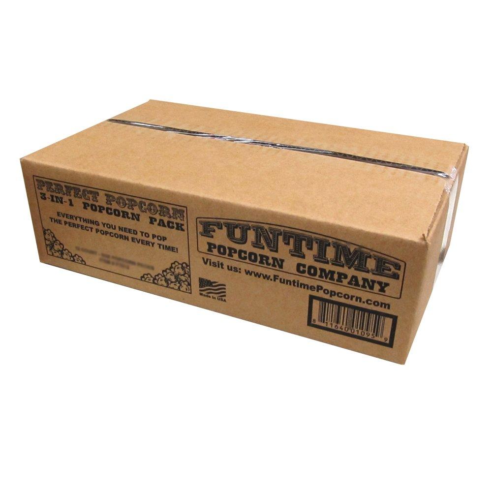 FunTime FT2548 2.5-Ounce Popcorn 3 in 1 Kernel Oil Seasoning Kits - 48 Pack