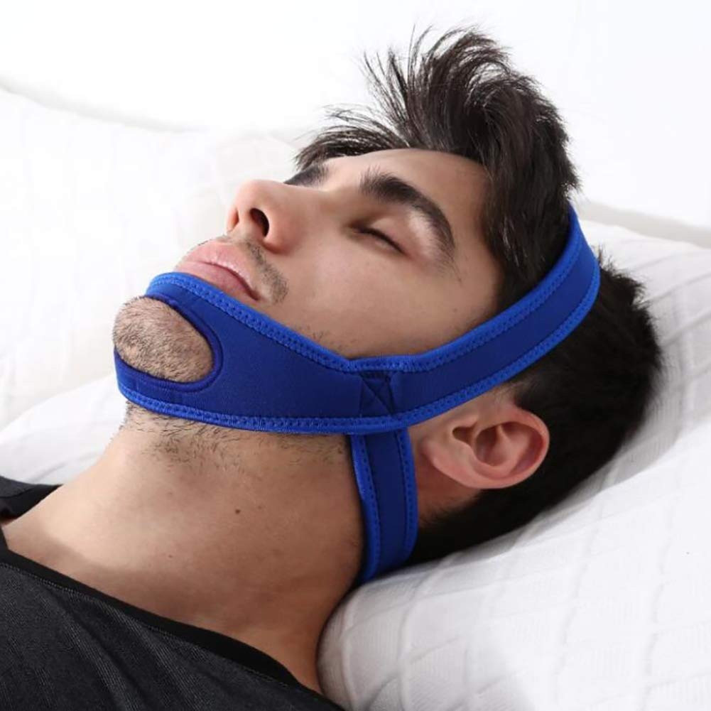 Anti Snoring Chin Strap Breathable Naturally Stop Snoring Device, Adjustable Snore Reduction Belt for Men & Women,Blue
