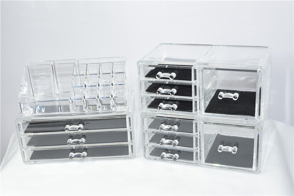 Unique Home Acrylic Jewelry & Cosmetic Storage Makeup Organizer (X-Large, Clear 4 Piece)