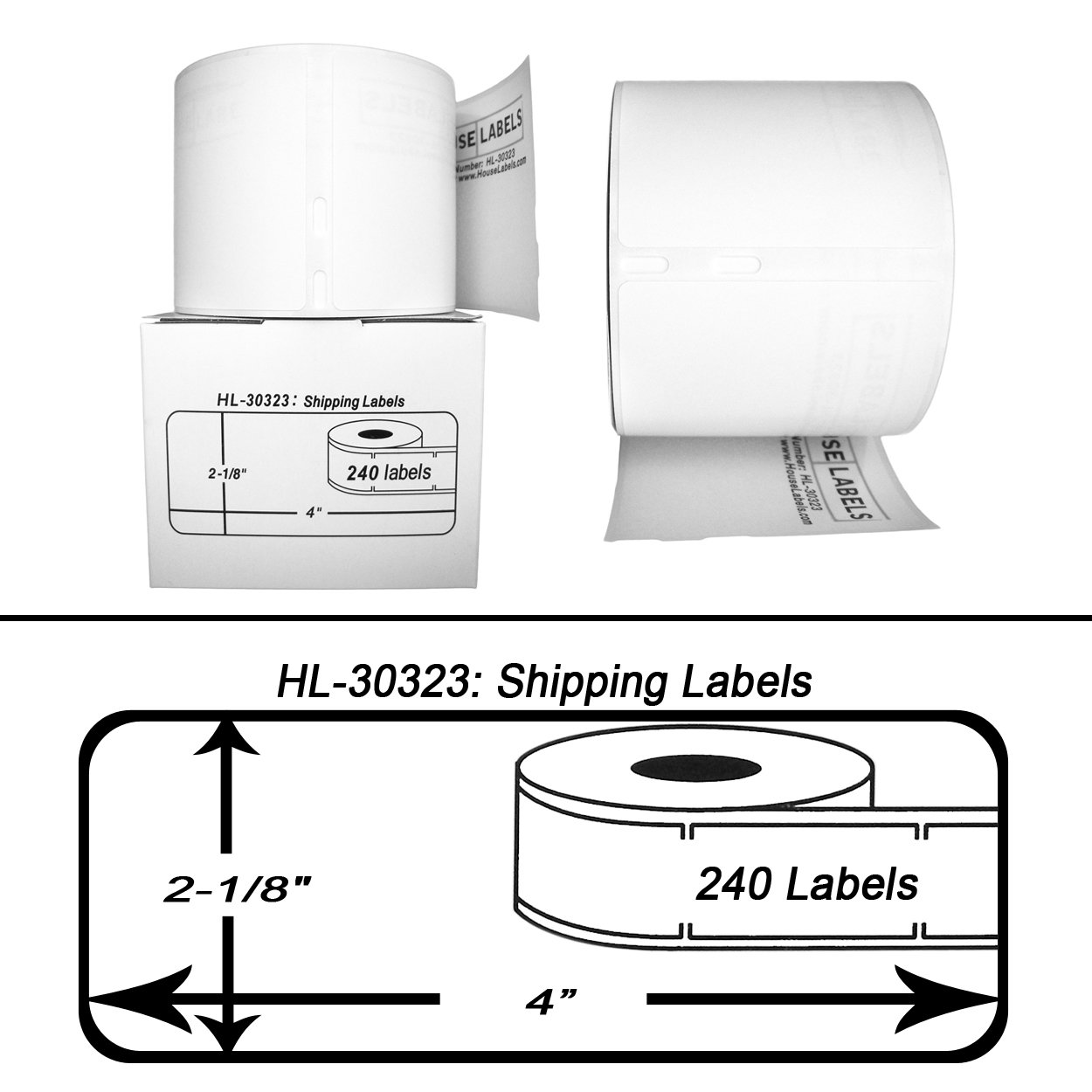 40 Rolls; 240 Labels per Roll of DYMO-Compatible 30323 (30573) Large Shipping Labels (2-1/8'' x 4'') -- BPA Free! by HouseLabels (Image #2)