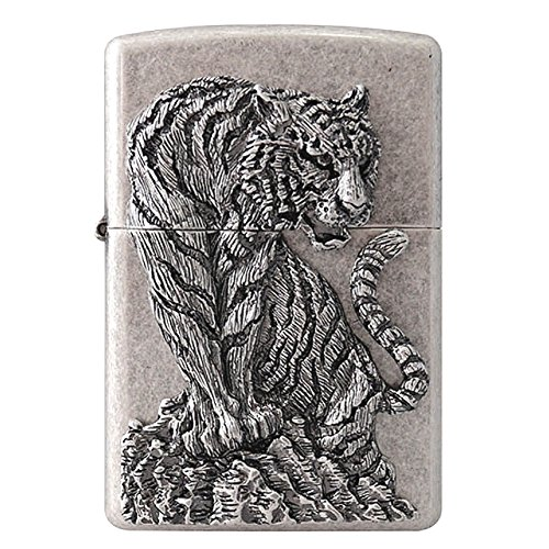 Zippo Tiger Hunter Sl Lighter / Genuine Authentic / Original Packing (6 Flints set Free Gift)
