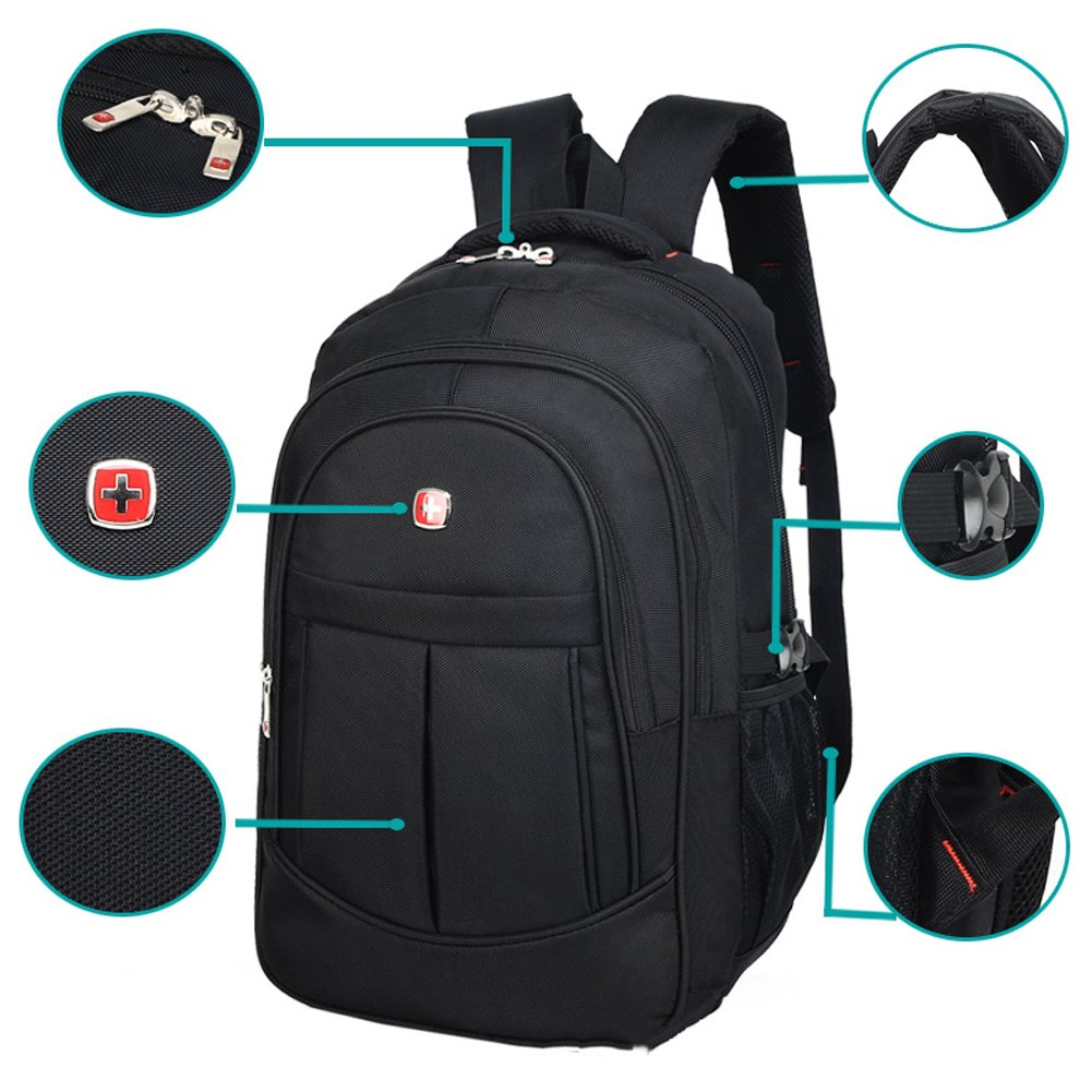 Amazon.com | DeLamode Men Swiss Army knife Notebook Backpack Double Shoulder Travel Student Bag Black-20 | Casual Daypacks