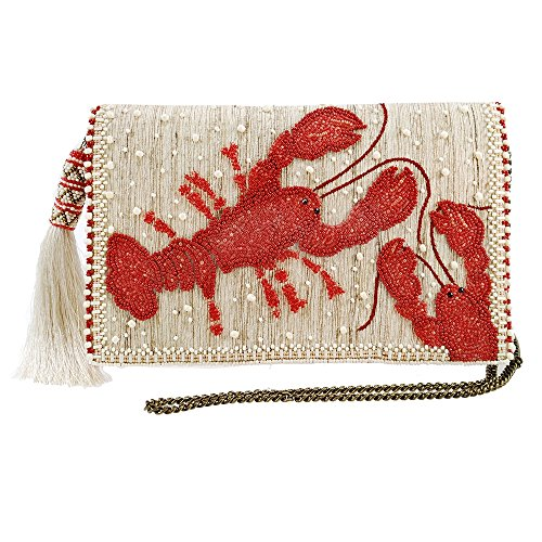 (MARY FRANCES You Are My Lobster Beaded-Embroidered Raw Silk Novelty Crossbody Clutch Handbag)