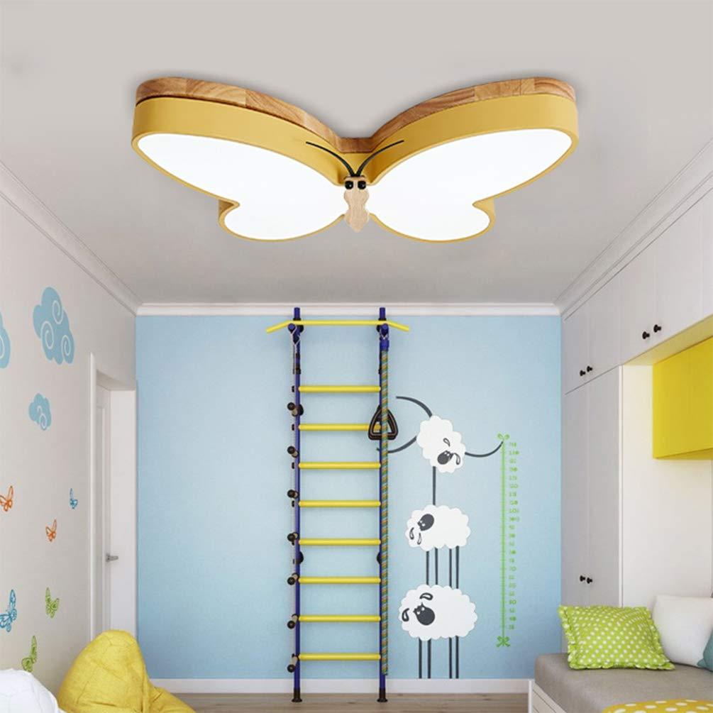 LED Deckenlampe Dimmbar Kinder Kinderzimmer Lampen Holz Schmetterling Design Deckenleuchte 40w Metall Acryl-schirm Kronleuchter Esszimmer Schlafzimmer Decken Leuchten Fernbedienung L65*W41*H6cm