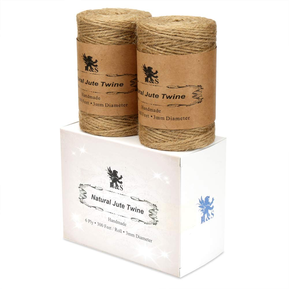 H/&S Jute Twine String 600 Feet 6ply 3mm Thick Strong Natural Jute Rope Roll stronger than 3ply