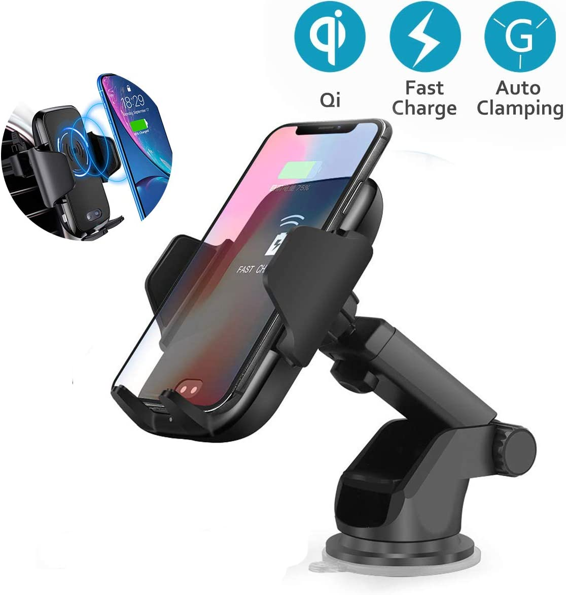 Sidiyang Wireless Car Fast Charger,IR Infrared Sensing Auto Clamping 10W//7.5W,Qi Car Receiver Mount Holder Compatible for iPhone XS//Max//XR//X//8Samsung Galaxy S8//S8 Plus//S9//S9 Plus Other QI Devices