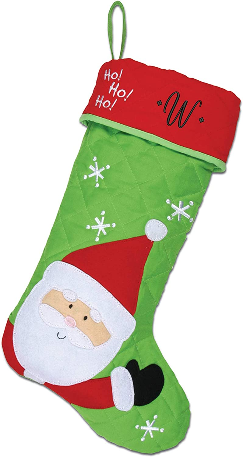 Monogrammed Christmas Stocking, Santa, Black Script Embroidered Initial W
