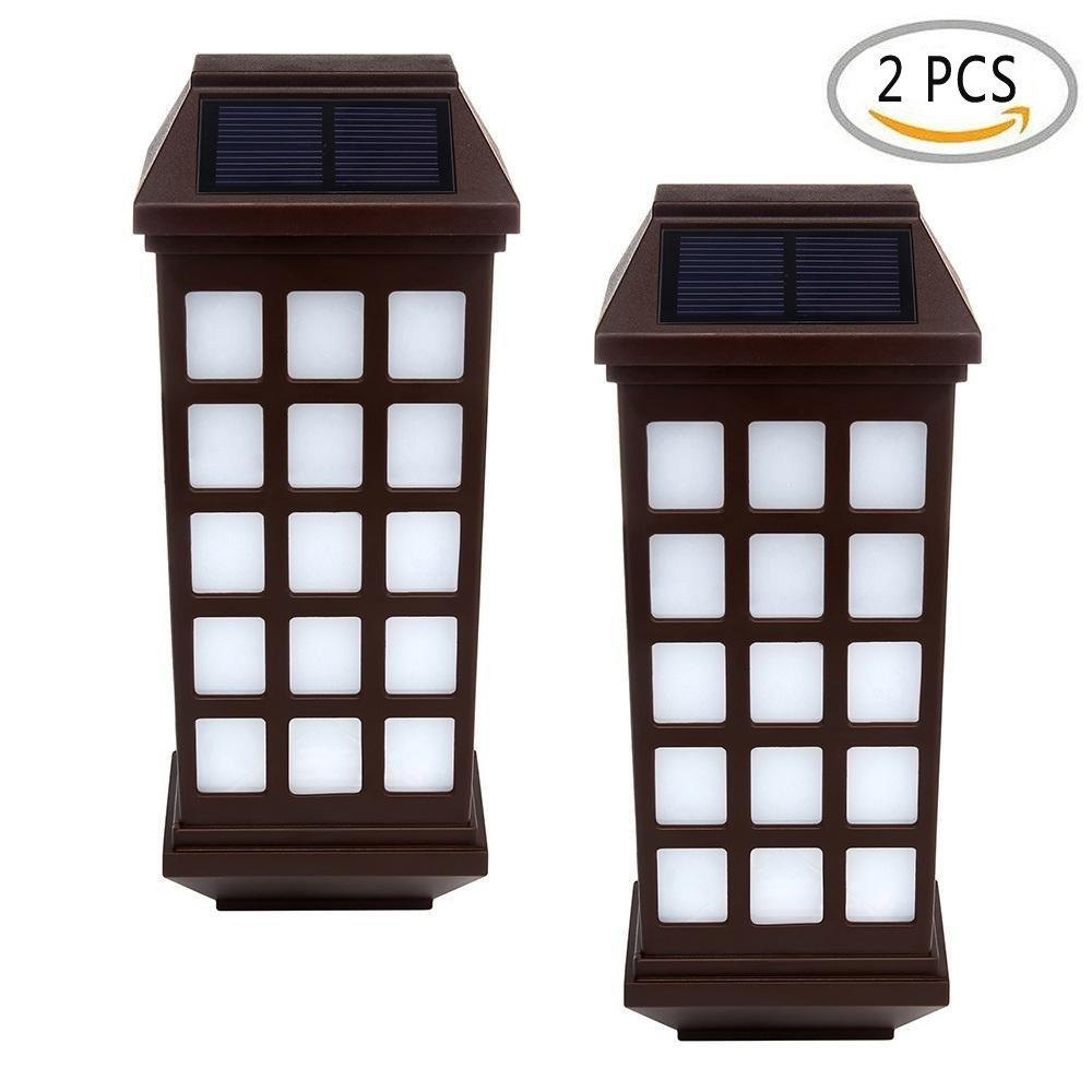 Umiwe ソーラーライト6 LED フェンスウォール 防水性ランプ ライトセンサー アウトドアガーデン ポーチ パティオ用ライト 2 PCS 6025779531382 B01M4IV1GY 12731 2 PCS|Warm light-rectangle Warm lightrectangle 2 PCS