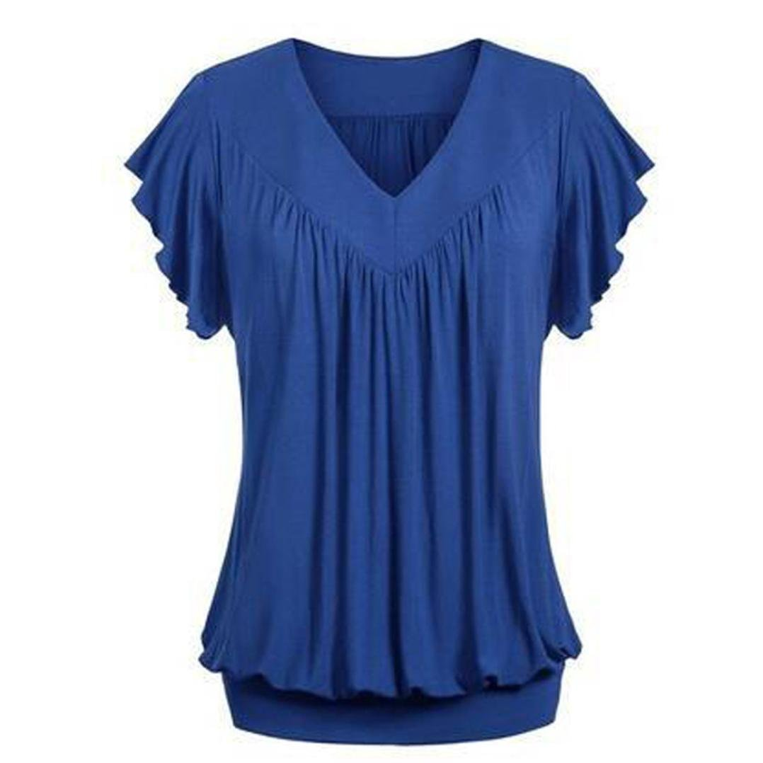 37f809f0499 ❤Women Plus Size Loose V Neck Short Sleeve Solid Color Top Pleated Blouse T- shirt.Material  Polyester. Great for party