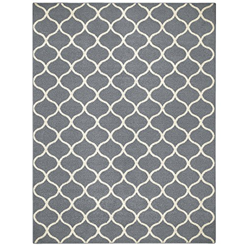 Maples Rugs Rebecca 7 x 10 Large Area Rugs [Made in USA] for Living, Bedroom, and Dining Room, Grey/White