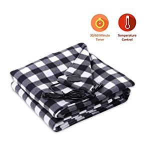 Leegoal Electric Car Blanket, 12V Car Electric Heated Travel Blanket Fleece Heating Pad with Premium Cigarette Lighter Plug and Adjustable Temperature Cold Weather, Tailgating,&Emergency