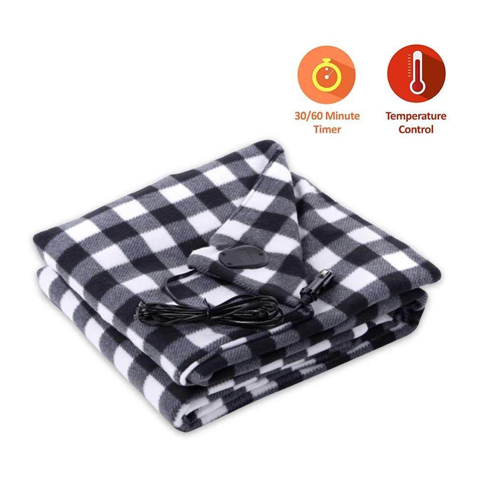 KOBWA Car Cozy 12-Volt Heated Travel Blanket(Red Plaid, 59''x 59'') Electric Car Blanket Heated Smart Multifunctional Travel Electric Blanket for Car, Truck, Boats or RV with High/Low Temp Control