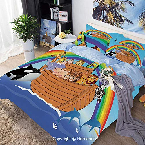 Bedding Sheets Set 3-Piece Bed Set,Noahs Ark with Funny Cute Animals Dolphins Swimming in Artistic Design Print,Queen Size,Include 1 Quilt Cover+2 Pillow case,Multicolor