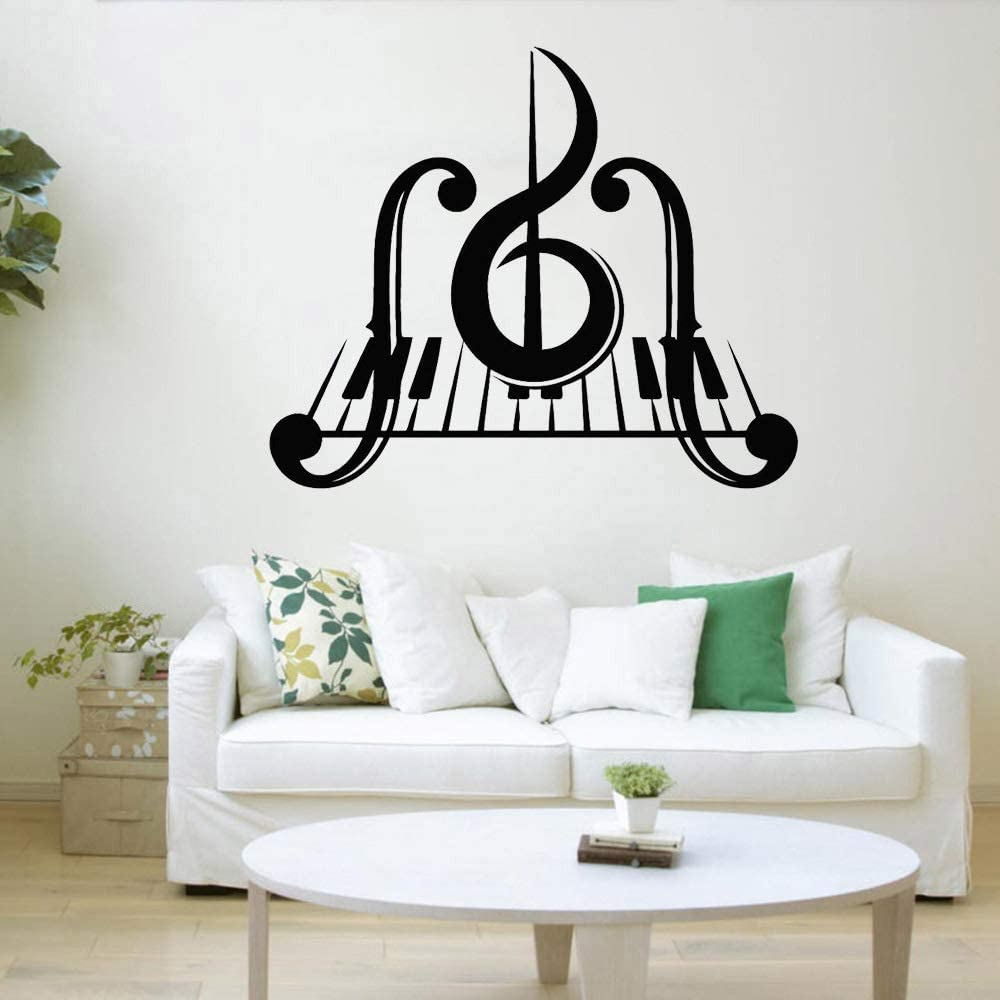 Piano Key Music Vinilo Tatuajes de pared Dormitorio Clave de sol Instrumento musical Pegatinas de pared Sala de estar color-2 42x49cm: Amazon.es: Bebé